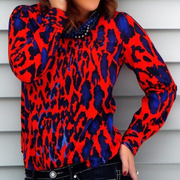 2b9f995a23f6 The Limited Tops | Euc Abstract Leopard Print Blouse | Poshmark